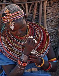 Costume - Samburu Woman Closeup - Kenya Africa - Stock Photo