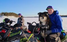 Finnish Lapphund Mosku with his friends, snowmobiling on the Tornio River