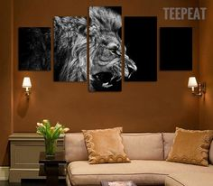 Black And White Lion Cuadros - 5 Piece Canvas Painting-Canvas-TEEPEAT  #prints #printable #painting #empireprints #teepeat