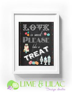 Love is sweets wedding poster candy buffet table sign cupcake cake wall art printable party birthday girl chalk chalkboard Lime & Lilac
