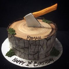 Happy Birthday Cakes, First Birthday Parties, First Birthdays, Lumberjack Cake, Satin Ice Fondant, Birthday Cake Decorating, Birthday Messages, Custom Banners, For Your Party