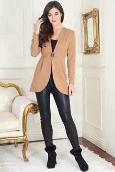 Izzy Diamond Clasp Tan Dress Blazer