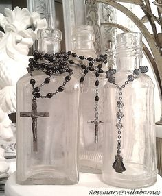 display rosaries on antique bottles!  You go Rosemary, love