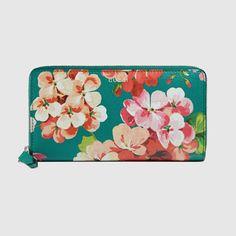 Blooms print zip around wallet