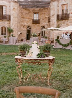 cake table with potted herbs | mindy rice