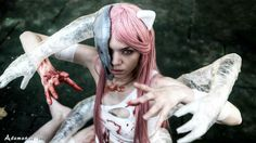 "Lucy (Elfen Lied) ""escape version"" with helmet and vectors"