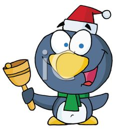 Royalty Free Clipart Image of a Penguin With a Bell
