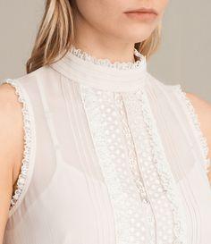 ALLSAINTS UK: Womens Mina Top (OYSTER WHITE)