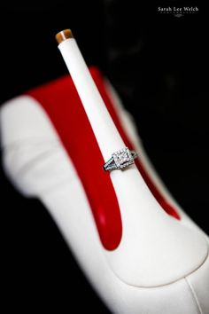 Love this idea! Engagement ring on the heel of your wedding shoes!