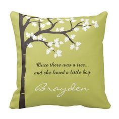 The Giving Tree Throw / Lumbar Pillow. Customizable names and colors. Inspired by the book The Giving Tree, by Shel Silverstein, this design features a half / left side image of a tree adorned by lush leaves. The featured colors are a classic dark brown / espresso tree trunk and white leaves combination on a sage / green background.