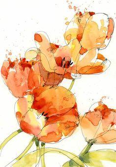 Shari Blaukopf - Last Tulips | Orange Flower Art | Floral painting