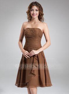 Bridesmaid Dresses - $86.99 - A-Line/Princess Strapless Knee-Length Chiffon Bridesmaid Dress With Ruffle Beading (007001084) http://jjshouse.com/A-Line-Princess-Strapless-Knee-Length-Chiffon-Bridesmaid-Dress-With-Ruffle-Beading-007001084-g1084