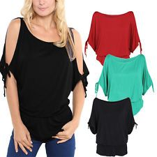 Sexy  Women's Off-shoulder Batwing Sleeve Tops Casual Loose Blouse T-shirt Tees