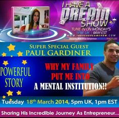 Heads up peeps, I have a SPECIAL Airing of I Have A Dream Show TODAY with the incredible Paul Rose Reaper Gardiner.  He will be joining me TODAY at 5pm UK, 1pm EST at http://ihaveadreamshow.com  Paul is hitting top on the leaderboards of Empower Network and has a remarkable story of exactly how  he got to this position.  I will be digging deep into his POWERFUL STORY and tapping into his entrepreneurial MIND and advising you how to be successful online   #IHaveADreamShow #Entrepreneur…