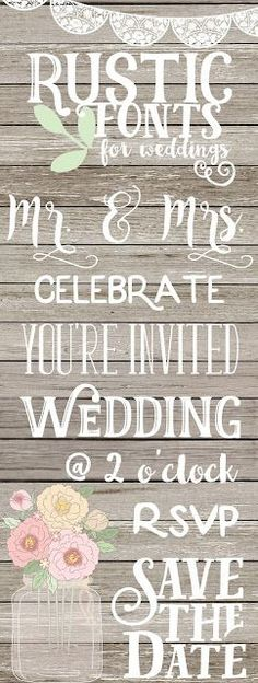 The Little Owl Nest: Favorite Font Friday [week 2] - Rustic Fonts for Weddings