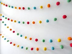 Colorful rainbow wool felt garland that would brighten up a birthday party, baby nursery, baby shower or room. Suits circus theme and carnival theme parties and room decor. Felt ball garlands are a very versatile, reusable decoration, that can be hung nearly anywhere in your home. Against a plain wall, over a mirror, desk, crib! The list is endless. It would also make a great gift. Details (as shown in photo): • 23mm (approx 1 inch) 100% wool felt ball. Please note that every ball is not...
