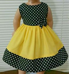 American Girl Doll Clothes/Yellow and Polka Dots /Handmade Inches. – Charlotte Atchison American Girl Doll Clothes/Yellow and Polka Dots /Handmade Inches. American Girl Doll Clothes/Yellow and Polka Dots /Handmade Inches. Girls Frock Design, Kids Frocks Design, Baby Frocks Designs, Baby Dress Design, African Dresses For Kids, Toddler Girl Dresses, Little Girl Dresses, Abaya Mode, Kids Dress Wear