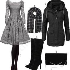 Eleganter Look mit grauem Kleid und schwarzen Stiefeln (w0868) #kleid #schal #stiefel #outfit #style #fashion #womensfashion #womensstyle #womenswear #clothing #frauenmode #damenmode #handtasche #inspiration #frauenoutfit #damenoutfit