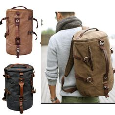 Men Canvas backpack Rucksacks leather shoulder travel Hiking Camping bag cool US $47.99