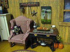 Miniature Dollhouse Rustic Living Room by Miniaturecabindecor4, via Flickr