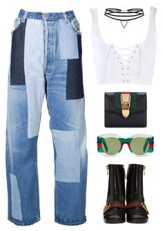 """Smoke Break"" by silhouetteoflight ❤ liked on Polyvore featuring Off-White, Topshop, Gucci and Humble Chic"