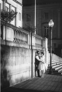 Black and white wedding photos in downtown Wilmington NC