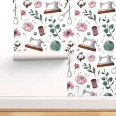 Sewing Room Design, Sewing Room Decor, My Sewing Room, Sewing Studio, Room Wallpaper, Perfect Wallpaper, Custom Wallpaper, Peel And Stick Wallpaper, Small Sewing Rooms