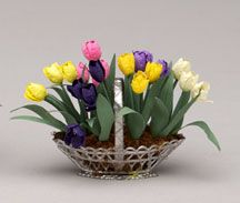 Mixed Tulips - Dollhouse Miniature - Pepper Wood Miniatures