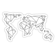 Geometric World Map Sticker from Stuck on Stickers Stickers Cool, Tumblr Stickers, Phone Stickers, Printable Stickers, World Map Sticker, Black And White Stickers, Aesthetic Stickers, Vinyl Decals, Prints