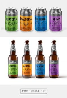 Hermitage Brewing Company by Rachel Martin. Source: Behance. #SFields99 #packaging #design #inspiration #ideas #product #creative #color #typography #illustration #range #alcoholic #beverages #beer #bottle #can #drinks