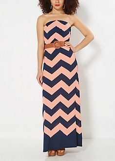 Coral Chevron Belted Tube Maxi Dress