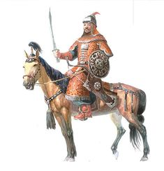 Mongol with sword, shield, and bow.