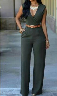 Shop Army Green Deep V Neck Sleeveless Loose Jumpsuit online. SheIn offers Army Green Deep V Neck Sleeveless Loose Jumpsuit more to fit your fashionable needs. Casual Outfits, Cute Outfits, Overall, African Dress, African Jumpsuit, Work Attire, Mode Style, African Fashion, Dress To Impress