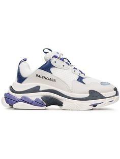 Balenciaga White And Blue Triple S Leather Sneakers - Farfetch Balenciaga Sneakers, Balenciaga Shoes Price, Tenis Balenciaga, Balenciaga Basket, Moda Sneakers, Sneakers Mode, Sneakers Fashion, Fashion Shoes, Shoes Sneakers