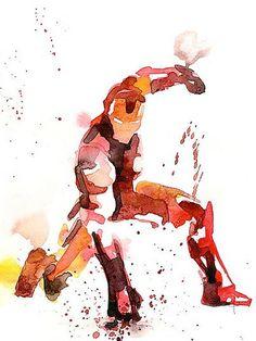 O responsável por tanto talento é o artista francês Blule. O cara recriou os formatos, silhuetas e cores de vários super-heróis famosos usando apenas aquarela. E acho que é por isso que achei tudo tão incrível, porque sempre que tentei fazer algo com essa técnica eu acabava sujando tudo e, no fim das contas, minhas obras primas não passavam de borrões em tons de marrom! HAhahaha!