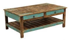 Casual rustic painted collection features functional drawer storage and bottom shelves. Metal ring drawer pulls. Unique finishing process allows for layers of natural wood tone mixed with color for true character. Matching dining and correlate accent pieces complete the collection.