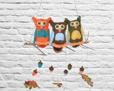Giant Owls Mobile for Baby Nursery - XL Needle Felted Wool Eco Friendly Kids Home Decor - Orange Blue Brown Forest Birds with Acorns