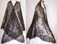 civil war era embroidery | Victorian Civil War Antique Black Chantilly Lace Floral Pattern ...