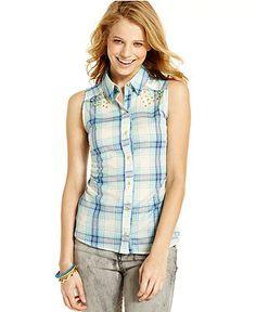 Ali & Kris Juniors Top, Sleeveless Plaid-Print Button-Down - Juniors Tops - Macy's