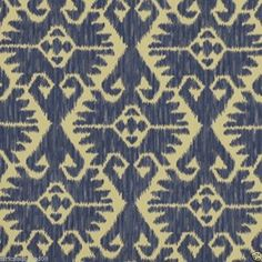 "ROBERT ALLEN BLUE WVN. IKAT UPHOLSTERY FABRIC; striking and exotic woven southwestern Ikat upholstery fabric by Robert Allen.  Suitable for chairs, pillows ottoman,or any home decor project .  Pattern: Log Cabin  Measurement: 54' W x 36"" L  Repeat Pattern: 14.00"" H  Repeat Pattern: 13.75"" V    Content: 20% Cotton/ 80% Spun Viscose"