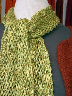 The pattern is called Turkish Stitch. Here's how you do it: 1. Cast on an even number of stitches – we used 28 stitches on a size 9 needle. 2. K1 *yarn over, knit 2 stitches together; repeat from * to last stitch, K1. 3. Repeat Step 2 until you reach the desired length or until approximately 2 yards of yarn remain. Bind off loosely.