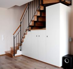 Built-in wardrobe under the stairs of carpenter Holzdesign Ralf Rapp - Cabinet Kitchen Utensil Organization, Built In Wardrobe, Office Storage, Under Stairs, Stair Railing, Simple Bathroom, Space Saving, Decoration, House Design