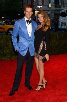 Met Gala 2013: See All the Red Carpet Looks - The Cut Tom Brady and Gisele Bundchen, Dress by Anthony Vaccarello, jewelry by David Yurman. This gets a pin cause they look good together!