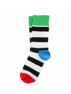 happy socks black and white stripe socks
