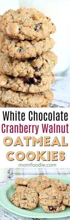 White Chocolate Chip Cranberry Oatmeal Cookies Recipe #cookies #oatmealcookies