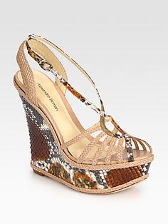 Python & Woven Leather Wedge Sandals by Alexandre Birman