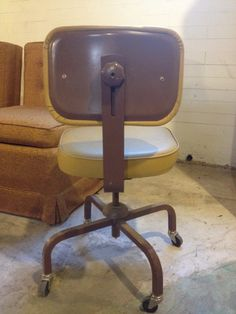 vintage industrial metal office chair metal. SALEVintage Industrial Heavy Duty Office Chair Mustard Vinyl TanPutty Metal Vintage M
