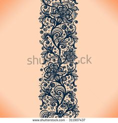 Abstract lace ribbon seamless pattern with elements flowers. Template frame design for card. Can be used for packaging invitations and t Lace Garter Tattoos, Lace Tattoo, Mehndi Art Designs, Tattoo Designs, Body Art Tattoos, Sleeve Tattoos, Fleurs Art Nouveau, Clock Tattoo Design, Tattoo Pain