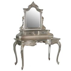 Sylvia Silver Grande Dressing Table by The French Bedroom Company