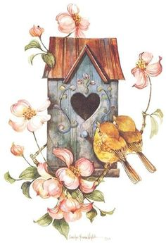 no cost summer bird house illustration style and design : These free birdhouse plans include all you need to create a birdhouse to your yard. You will discover detailed instructions, diagrams, photos, and mat. Vintage Clip Art, Vintage Birds, Vintage Easter, House Illustration, Illustrations, Vintage Wallpaper, Decoupage Vintage, Bird Drawings, Bird Pictures